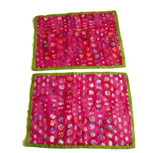 CRATE & BARREL Pink Placemats - Lot of 2 - 14x19""